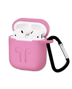 Чехол для AirPods силиконовый с карабином, Розовый - фото 25387