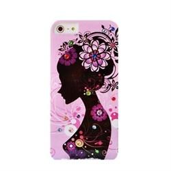 Пластиковый чехол со стразами Flowers Girl Purple для iPhone 5