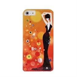 Пластиковый чехол со стразами Flowers Girl Orange для iPhone 5