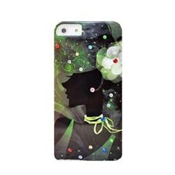 Пластиковый чехол со стразами Girl Dark Green для iPhone 5