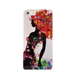 Пластиковый чехол со стразами Girl Flowers Orange для iPhone 5