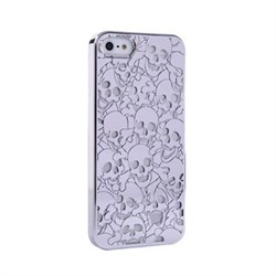 Пластиковый дизайн чехол-накладка Marc Jacobs Skulls Silver для iPhone 5