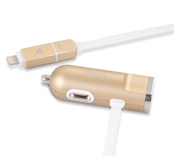 Автомобильное зарядное устройство Hoco UCL01 с кабелем Lightning+MicroUSB и доп. USB-входом - фото 7231