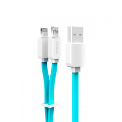 Кабель Rock Lightning-USB-microUSB Data Cable Flat для iPhone/ iPad 200cм - фото 9255