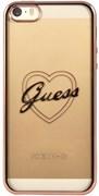 Чехол-накладка Guess для iPhone SE/5S SIGNATURE HEART Hard TPU Rose gold (Цвет: Розовое золото)