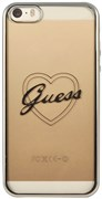 Чехол Guess для iPhone SE/5S SIGNATURE HEART Hard TPU Silver (Цвет: Серый)