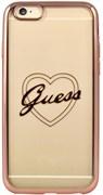 Чехол-накладка Guess для iPhone 6/6S SIGNATURE HEART Hard TPU Rose gold (Цвет: Розовое золото)