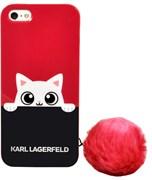Чехол-накладка Lagerfeld для iPhone SE/5S K-Peek A Boo Hard Transparent TPU Navy/Pink (Цвет: Синий/Розовой)