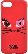 Чехол-накладка Lagerfeld iPhone 7/8 Choupette in love 2 Hard PU, цвет «красный» (KLHCP7CL2RE)