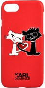 Чехол-накладка Lagerfeld iPhone 7/8 Choupette in love  Hard PU, цвет «красный» (KLHCP7CL1RE)