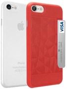 Набор из двух чехлов-накладок Ozaki Jelly и Ozaki Pocket для iPhone 7/8  «Цвет: Jelly прозрачный/Pocket красный» (OC722RC)