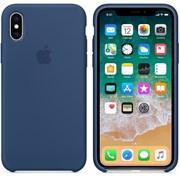 """Оригинальный силиконовый чехол-накладка Apple для iPhone X, цвет """"Тёмный кобальт""""  (MQT42ZM/A)"""