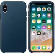 Оригинальный кожаный чехол-накладка Apple для iPhone X, цвет «Космический синий»  (MQTH2ZM/A)