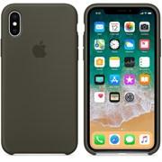 Оригинальный силиконовый чехол-накладка Apple для iPhone X, цвет тёмно-оливковый  (MR522ZM/A)
