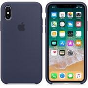 Оригинальный силиконовый чехол-накладка Apple для iPhone X, цвет тёмно-синий  (MQT32ZM/A)