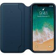Оригинальный кожаный чехол-книжка Apple для iPhone X, цвет «Космический синий»  (MQRW2ZM/A)