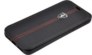 "Чехол-Книжка Ferrari iPhone X/XS Heritage W Booktype Leather, ""Black"" (FEHDEFLBKPXBK)"