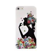 Пластиковый чехол со стразами Flowers Girl для iPhone 5