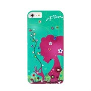 Пластиковый чехол со стразами Flowers Girl Green для iPhone 5