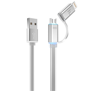 Кабель для iPhone/ iPad HOCO Lightning-USB + MicroUSB Data Jelly Metal 120cм