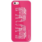 Чехол-накладка India для iPhone SE/5/5S Hard Elephants Fuchsia Crystals, дизайн: Слоны стразы